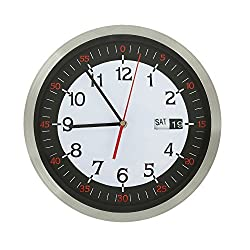Adeco CK0083 Stainless Steel Round Wall Hanging Clock with Date & S Hand Home Decor, Silver