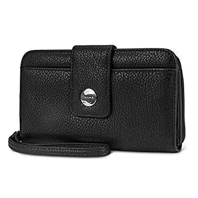 Tahari Vegan Leather RFID Womens Zip Around Wristlet Clutch Wallet With Phone Pocket