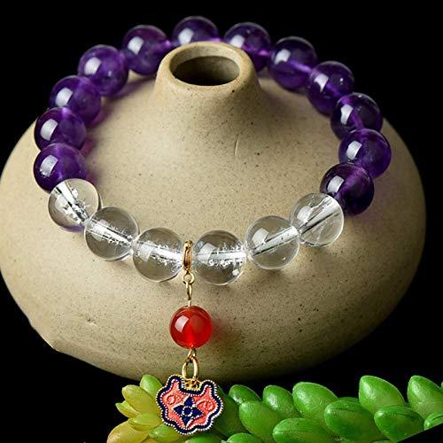 Feng Shui Buena suerte Pulseras Natural Amatista Blanco Cristal Burn Blue Ruyi Colgante Redondo Beads Charms Pulsera Lucky Chino Regalos para hombres Mujeres Curación Atraer dinero para una buena fort