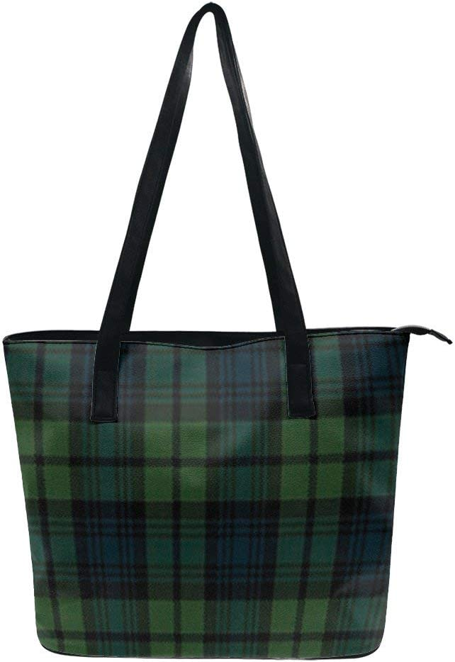 NiYoung Stylish Tote Bag for Women Girls PU Leather Tote Handbags Lightweight Large Capacity Shoulder Bags Travel Business Shopping School Casual Bag with Zipper, Scottish Tartan Plaid