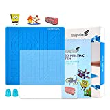3D Printing Pen Mat, Silicone Design Mat with Basic Template,Gift 3D Pen Stencils Book,3D Copy Plate and 2 Silicone Finger Caps,Best Tools for 3D Drawing,Circles, Triangles,House,Square Model