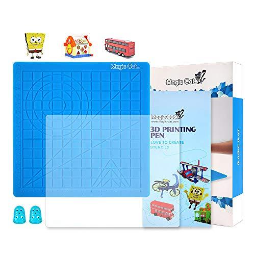 Tappetino per penna per stampa 3D, tappetino in silicone con modello di base, libro con stencil per penna regalo 3D, piastra per copia 3D e 2 tappi in silicone, i migliori strumenti per il disegno 3D