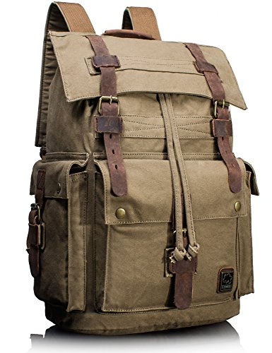 Leaper Vintage Canvas Leather Travel Rucksack Military Backpack Hiking Daypack Army Green