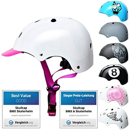 Skullcap® Skaterhelm Kinder Weiß SC Purple - Fahrradhelm Mädchen ab 6 Jahre Größe 53-55 cm - Scoot and Ride Helmet Kids - Skater Helm für BMX Scooter Inliner Fahrrad Skateboard Laufrad
