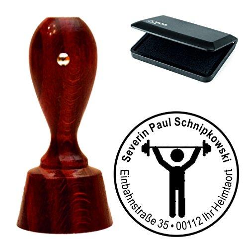 Exclusieve stempelset « GEWICHTHEVEN » met uw adres ronde mahonie-kleurige adresstempel met stempelkussen - halter krachtsport fitness gewichten
