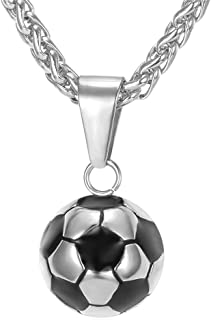 U7 Soccer/Basketball/Rugby/Tennis Racket Necklace Stainless Steel/18K Gold Plated Spiga Chain & Pendant,Men Boys Jewelry