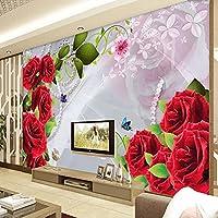 HGFHGD 3Dリビングルーム壁画赤いバラの花テレビ背景壁紙家の装飾壁紙ウォールステッカーウォールアート