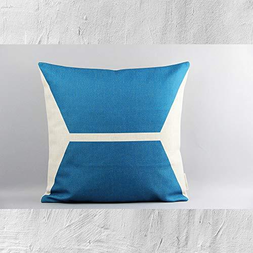 Funda de cojín para sofá cama para mamá y papá, diseño geométrico de bloques de color azul, 45,7 x 45,7 cm, decoración escandinava, funda de cojín para café, té y habitación