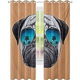 Cortina opaca para ventana, diseño de perro con aviadores reflectantes, palmeras, ambiente tropical, animal fresco, 52 x 72 cortinas de oscurecimiento para sala de estar, negro, naranja y azul
