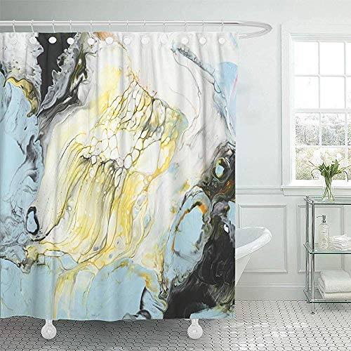 QIUJUAN Duschvorhang, Aquatic Abstract Hand Close Up Fragment of Acrylic Painting on Canvas Blue Yellow Artistic Shower Curtains Sets with Hooks 72 x 72 Inches Waterproof Polyester Fabric