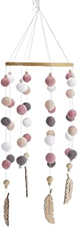 Aideal Wooden Felt Balls Wind Chime Baby Crib Mobile Hanging Decoration for Bedroom Ceiling Decor Photography Props (Color3)