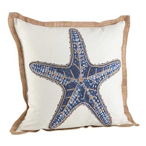 SARO LIFESTYLE Nautical Star Fish Print Down Filled Throw Pillow (5433.NB20S), 20'