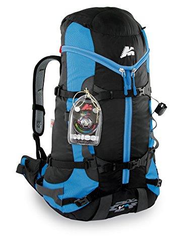 Marsupio® Y45 ou Y30 Sac à Dos Alpin (30/45 litres Escalade Bouldering Boucles de l'outil Porte-Skis + LED Plus Lampe Frontale avec Piles Bouton), Farbe:Black - Azure Blue Groesse:45 L