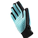 FRETOD Pet Glove Grooming Tool - Double-Side with Furniture Hair Remover Mitt -Dog Cat Hair Deshedding Brush for Long & Short Fur - Bathing Massage Comb