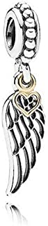 Romántico Amor Love and Guidance Charm Angel Wing Feather Pendant Silver Dangle Bead fit Pandora Bracelets
