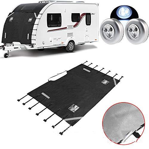 LINGKY Caravan Universal-Frontabdeckung - Caravan-Frontabdeckung Mit 2 LED-Leuchten, Verbesserte Caravan-Frontabdeckung