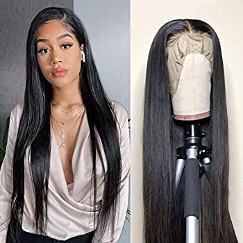 Lace Front Wigs Human Hair Pre Plucked 13x4 Brazilian Straight Human Hair Lace Front Wigs for Black Women 150% Density Natural Hairline Wigs  12 Inch Straight 13x4 Wig