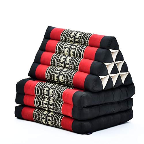 Leewadee colchón Plegable con Tres segmentos – Futón con cojín Hecho a Mano de kapok, colchoneta tailandesa, 170 x 53 cm, Negro Rojo