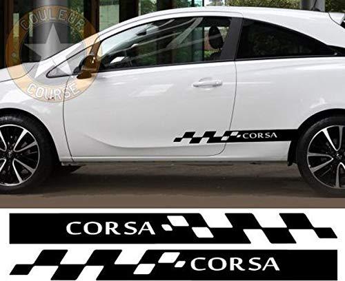myrockshirt Seitenstreifen Set beidseitig Opel Corsa Racing Rennfahne ca.120cm Aufkleber,Sticker,Decal,Autoaufkleber,UV&Waschanlagenfest,Profi-Qualität