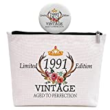 30th Birthday Gifts for Women, 30 Years Old Gift for Wife Aunt Daughter Friend Sister Niece, Vintage 1991, Makeup Bag