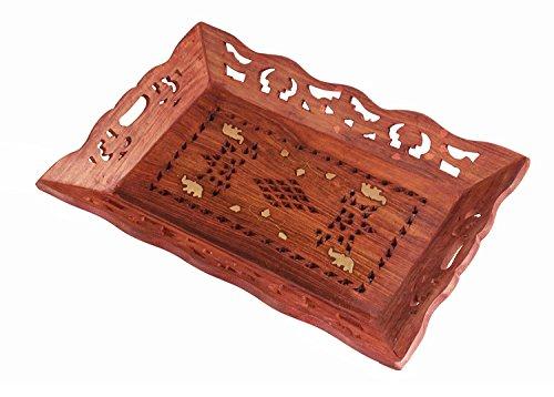 Store Indya, Handcrafted Plateaux de service en bois Pour le plateau de cafe Tea Party avec incrustation en laiton floral