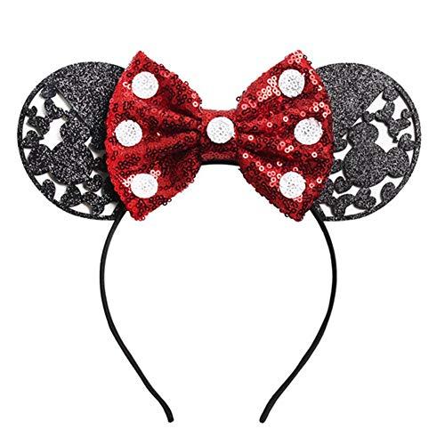 1 Pc Novità Big Glitter Orecchie Per Per Ragazze 2019 Valentine's Day Party Dots Dots Sequin Bow Fascia Fascia Accessori Rosso