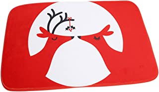 HS Red Kiss Deer Cartoon Doormat Christmas Mats Entrance Mat Floor Mats Rug for Indoor Outdoorr Bathroom40 x 60cm