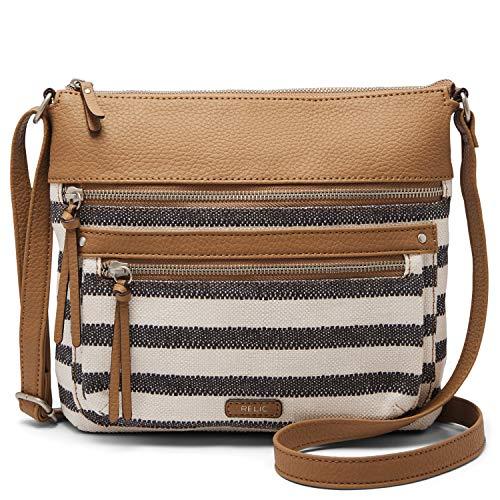 Relic by Fossil Women's Riley NS Crossbody Handbag, Color: Black/White Stripe Model: (RLH9001005)