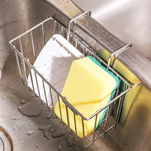 Portaspugne per Cucina, THETIS Homes Organizer per Lavello Cestello Portaoggetti in Acciaio Inox Scolapiatti Liquido per Piatti Stoccaggio Spazzole per Bottiglia