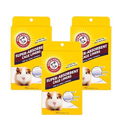 Arm & Hammer Super-Absorbent Cage Liners for Guinea Pigs, Hamsters, Rabbits & All Small Animals | Best Cage Liners for Small Animals, 21 Count (3 Packs of 7)