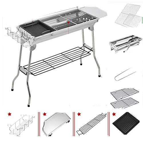 BWCX Holzkohlegrill Grill Kohlenstoffstahl Outdoor-Camping Tragbare Schweres Picknick