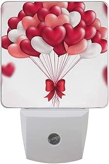 Plug in Night Light Lamp Heart Balloons Dusk to Dawn Sensor LED Nightlight Smart Automatically Lights Bedroom, Bathroom, Kitchen, Hallway, Stairs, Energy