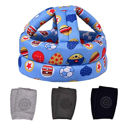 TORASO Baby Head Protector & Baby Knee Pads for Crawling, Infant Safety Helmet & Walking Baby Helmet, for Age 6-36 Months, Blue Football(A)