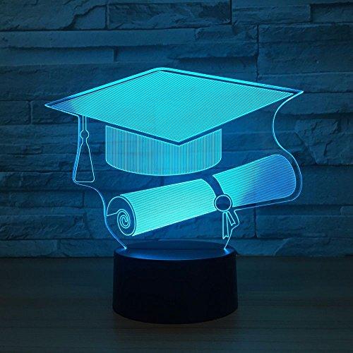 3D Bachelor hoed lamp LED nachtlampje met afstandsbediening, 7 kleurwisselende touch voor kindervakantiegeschenken en speelgoedverlichting, USB-stekker
