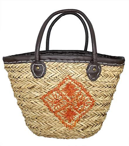 DONATZELLI Sommertasche aus Weide für Damen, Seagrass, geflochten, Kordelzug, Innenfutter, Strandtasche, große Strohhalme, Reisen, Schultergurte, Urlaub, Alltag, 47 x 32 x 19 cm