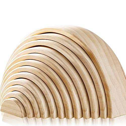 Juego de 12 bloques de madera de colores de madera de Waldorf para niños pequeños, torre apilable de bloques de madera
