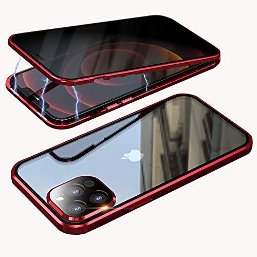 Funda para Apple iPhone 12 Pro Max Anti Spy Funda de cristal templado de protección antipeep magnético de metal antigolpes antiespía antiespía antiespía para 12 Pro Max 6,7 pulgadas, color rojo