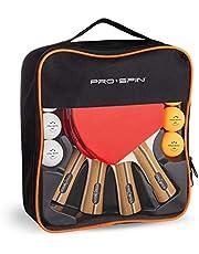 Pro Spin Pingpong Batjes - Hoogwaardige Pingpong Set | Premium Tafeltennis Batjes, 3-Sterren Pingpong Balletjes, Compacte Opbergkoffer | Ping Pong Batjes Set van 4 | Binnen- & Buitenspel