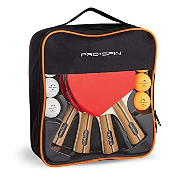 PRO SPIN Ping Pong Paddles - High-Performance 4-Player Set | Premium Table Tennis Paddles 3-Star Ping Pong Balls Compact Storage Case | Ping Pong Paddles Set for Indoor & Outdoor Games