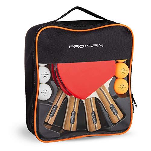 Pro Spin Palas de Ping Pong, Set de Alto Rendimiento - Palas de Tenis de Mesa, Pelotas de Ping Pong 3*, Caja de Almacenamiento - Set de 4 Palas de Ping Pong - Mesa de Ping Pong Exterior, Interior