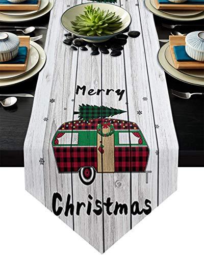 Camino de mesa, felices Navidades, Cam-per Dresser Bufandas Decoración de Mesa para Boda/Ceremonia o Banquete (33 x 228 cm) Tablero de Madera Rústica Árbol de Pino Verde