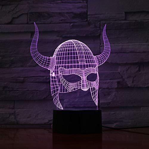 3D Light Night Lamp,Kunst Dekoration 3D Lampe Wikinger Helme Visueller Lichteffekt Farbwechsel Mit Fernbedienung Dekoration Led Nachtlicht Lampe