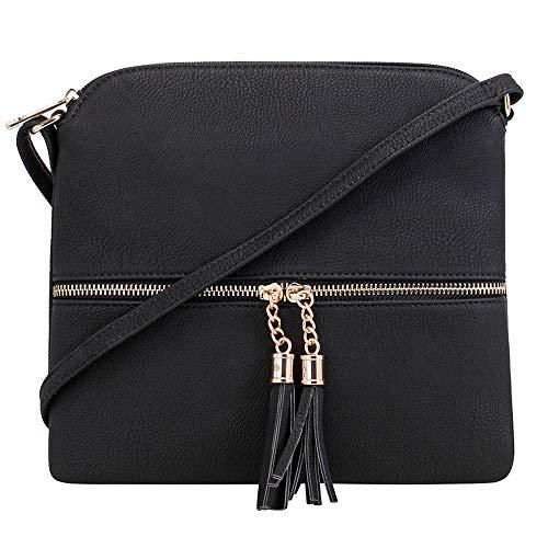 SG SUGU Lightweight Medium Crossbody Bag Shoulder Bag with Tassel and Zipper Pocket (Black)