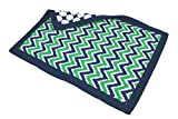 Bacati Mix and Match Zigzag/Large Dots Ikat Crib Comforter Bumper, Navy/Green