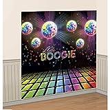NET TOYS Déco Murale Années 70 Poster Disco Party 1,65 x 1,65 m Boule à Facettes Affiche Décoration de Mur Fluo 70s Fête Anniversaire Décor Néon