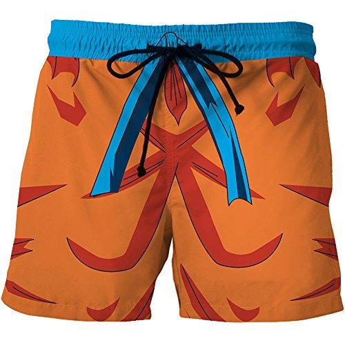 NIEWEI-YI Hombre Bañador Shorts 3D Playa Natacion Pantalon Corto Poliéster Secado Rápido Ligero Moda Shorts Dragon Ball,XS