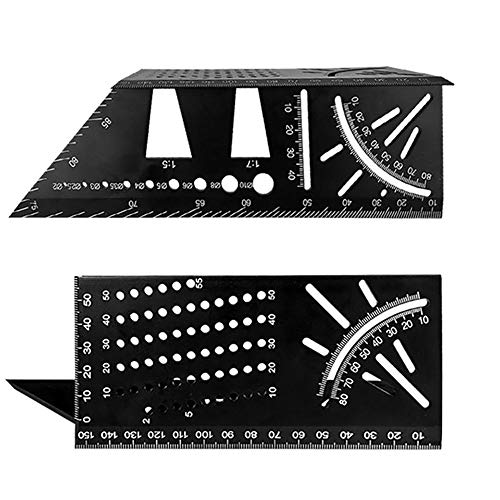 3D 90 Degree Square Carpenter's Rule -3D Multi-Angle Measuring Ruler-Aluminum Alloy Woodworking Square Size Measure Ruler - 3D Mitre Angle Measuring Template Tool