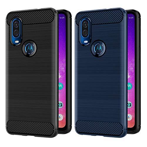 VGUARD [2 Stücke] Hülle für Motorola Moto One Vision, Carbon Faser Hülle Tasche Schutzhülle mit Stoßdämpfung Soft Flex TPU Silikon Handyhülle für Motorola Moto One Vision - (Schwarz+Blau)