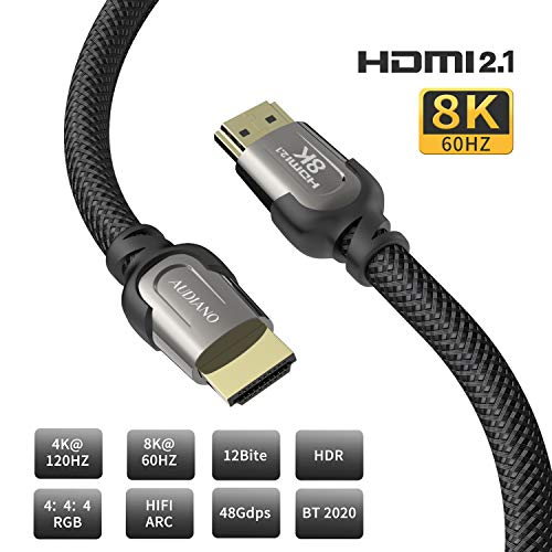 8K HDMI Cable, AUDIANO 8K HDMI 2.1 Cable 100% Real 8K, High Speed 48Gbps 8K@60Hz 7680P Dolby Vision, HDCP 2.2, 4:4:4 HDR, eARC Compatible with Apple TV, Samsung QLED TV (10ft)