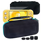 Switch Lite Accessories Kit,Hard EVA Carry Bag+Silicone Protective Skin+Screen Protector+4 Thumb Grips Caps